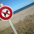 No dog sign on the beach — Stok fotoğraf