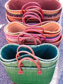 Straw colorful bags — Stock Photo