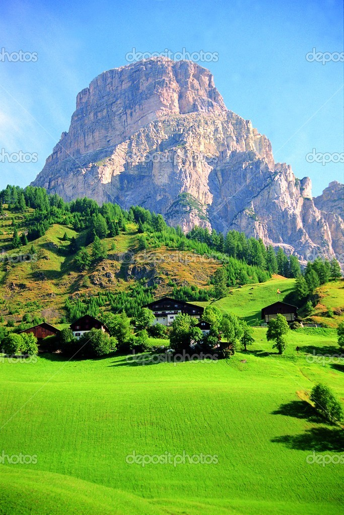 Summer landscape of Sassolungo mountain, Dolomites, Italy  Stock Photo #5985604