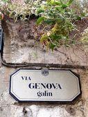 генуя улице табличку в монтероссо, чинкве-терре, италия — Стоковое фото