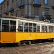 Old orange tram in Milan, Italy — Stock Photo