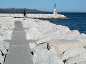 Marina giriş ve i̇skelesi — Stok fotoğraf