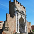 Augustus' triumph arch, Rimini, Italy - Stock Photo
