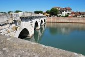 Tiberius' bridge, Rimini, Italy — Stock Photo