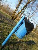 Blue litter bin — Stock Photo