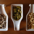 Seeds in ceramic containers — Foto Stock
