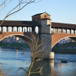 Covered bridge on Ticino river - Stock Photo