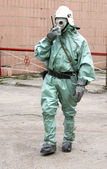 Man in chemical suit — Stock Photo