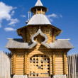 Domes of wooden church — Stock Photo
