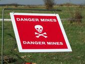 採鉱された区域の警告サイン — ストック写真