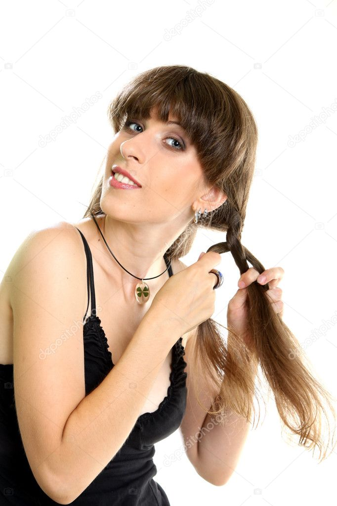 Beautiful Fashion Woman With Beautiful Braid Hair Isolated — Stock Photo #6480942