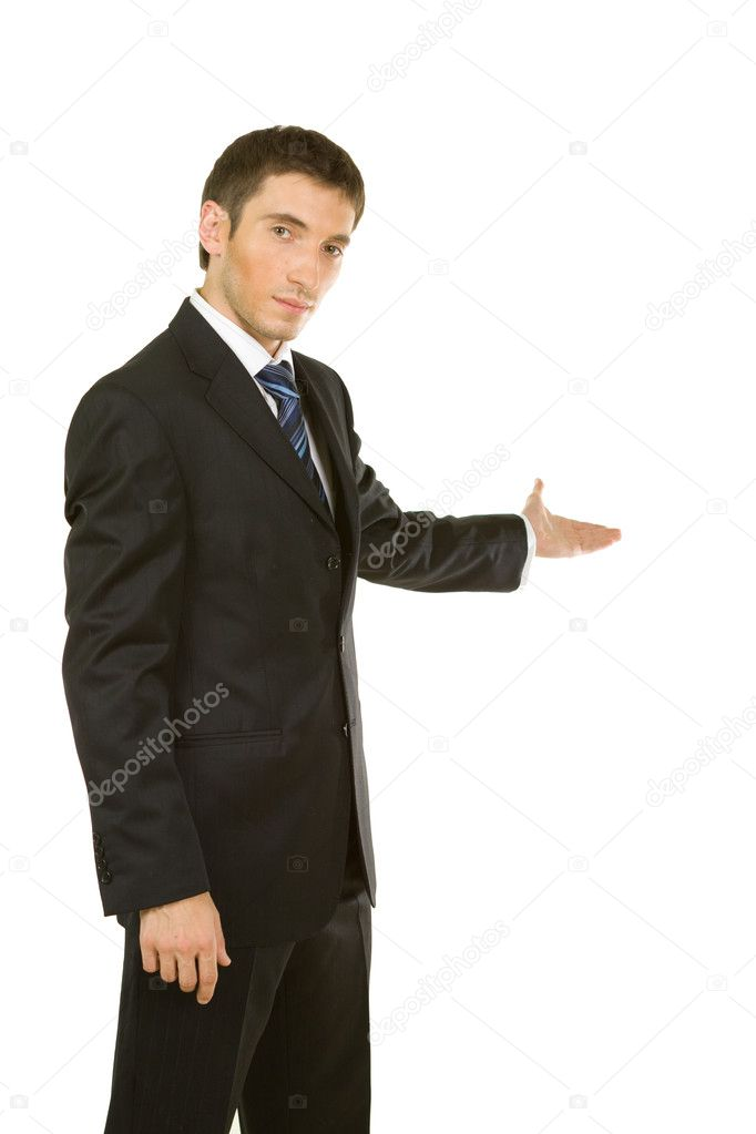 Businessman with arm out in a welcoming gesture , isolated on white background — Stock Photo #6728569