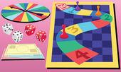 Board Game & Dice — Stock Vector