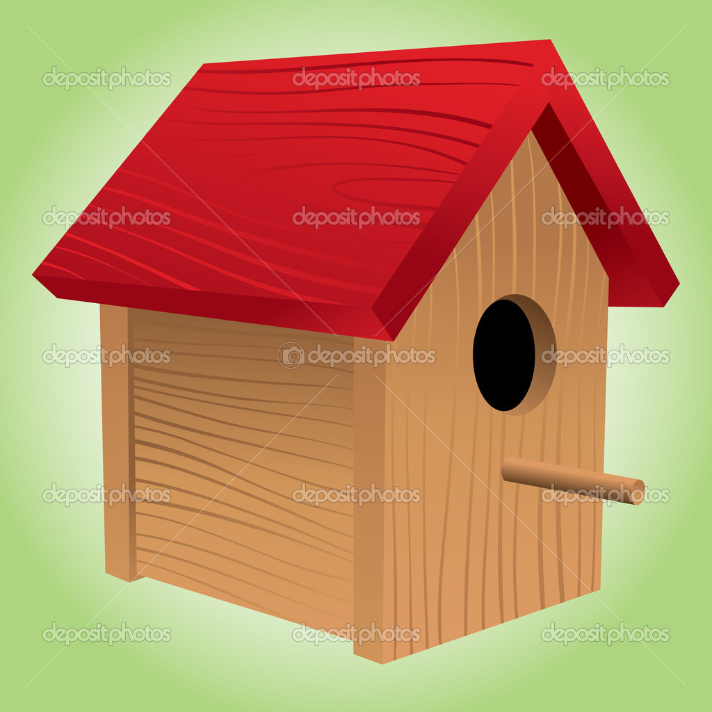 A red-roofed wooden birdhouse, perfect for lovebirds. — Stock Vector #5913906