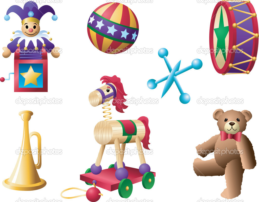 A selection of classic toys from yesteryear.  Stock Vector #5914379