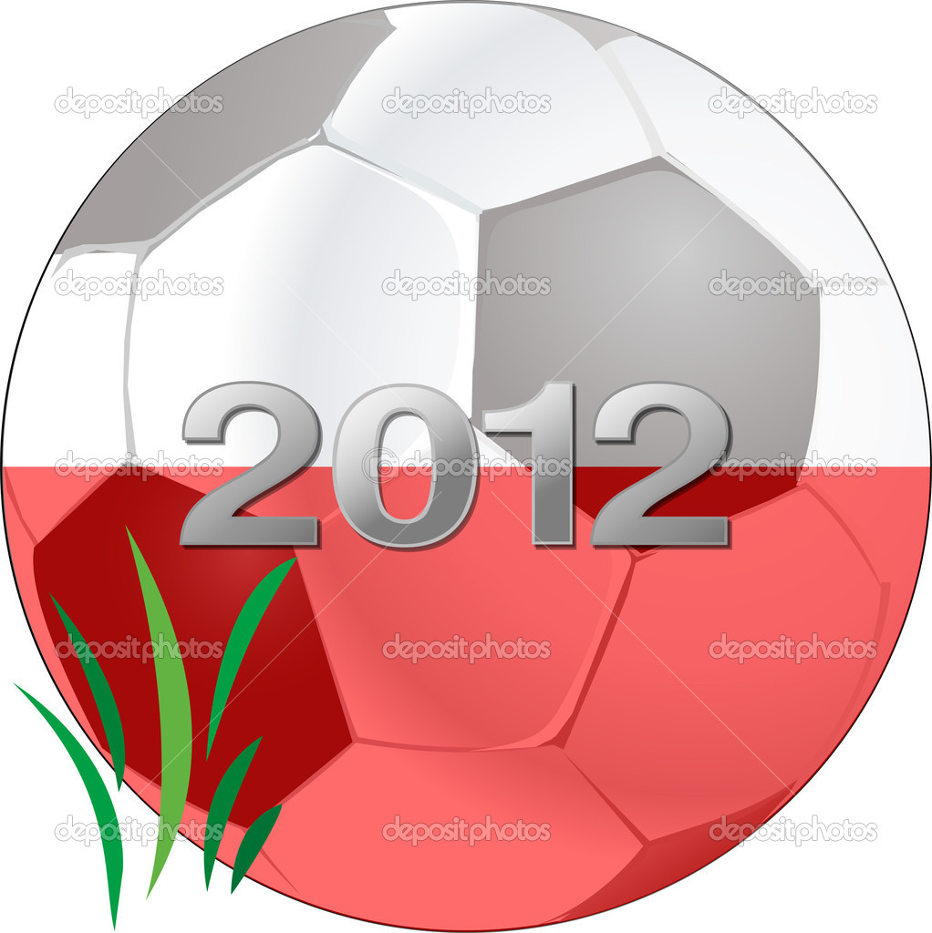 Soccer ball with date and flag. — Stock Vector #5899564