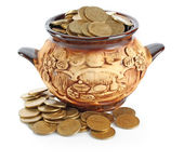 Pot & coins — Foto Stock