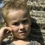 Thinking little boy — Stock Photo