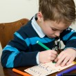 Writing And Drawing Boy — Stockfoto