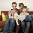 Family On A Couch 5 - Stock Photo