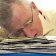 Exhausted senior businessman — Stock Photo