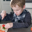 Boy cutting pepper — Stock Photo