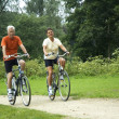 Biking Senior Couple — Stock Photo