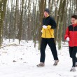 Running In The Snow — Stock Photo #5919054