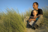 Boy With Father Looking — Stock Photo