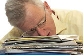 Exhausted senior businessman — Stock Photo