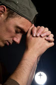 Praying Man Holding A Cross -2 — Stock Photo