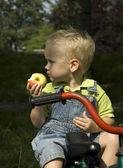äta ett äpple — Stockfoto