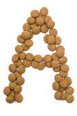 Ginger Nut Alphabet A — Stock Photo