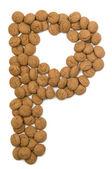 Ginger Nut Alphabet P — Stock Photo