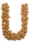 Ginger Nut Alphabet U — Stock Photo