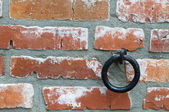 Old brick wall with ring — Stock Photo