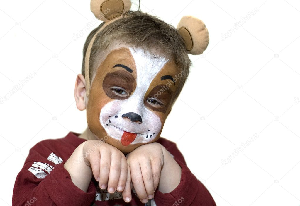 Cute five year old playing dog with a painted face. On white background. — Stock Photo #5917895