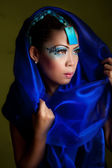 Young Beautiful Asian Woman in a Blue Veil — Стоковое фото