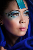 Beautiful Asian Woman in Blue Veil — Stock Photo