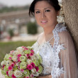 Asian Bride on Her Wedding Day Outside — Stock Photo