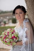 Азиатские невесты в день своей свадьбы за пределами — Стоковое фото