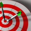 Stock Photo: Bulls eye and darts in 3D