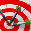 Bulls eye and darts in 3D — Stock Photo