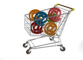 Market trolley with a group of @ — Stock Photo