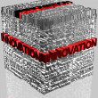 Business words related in cube format with highlighted word Innovation — ストック写真