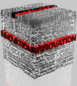 Business words related in cube format with highlighted word Innovation — Stock Photo