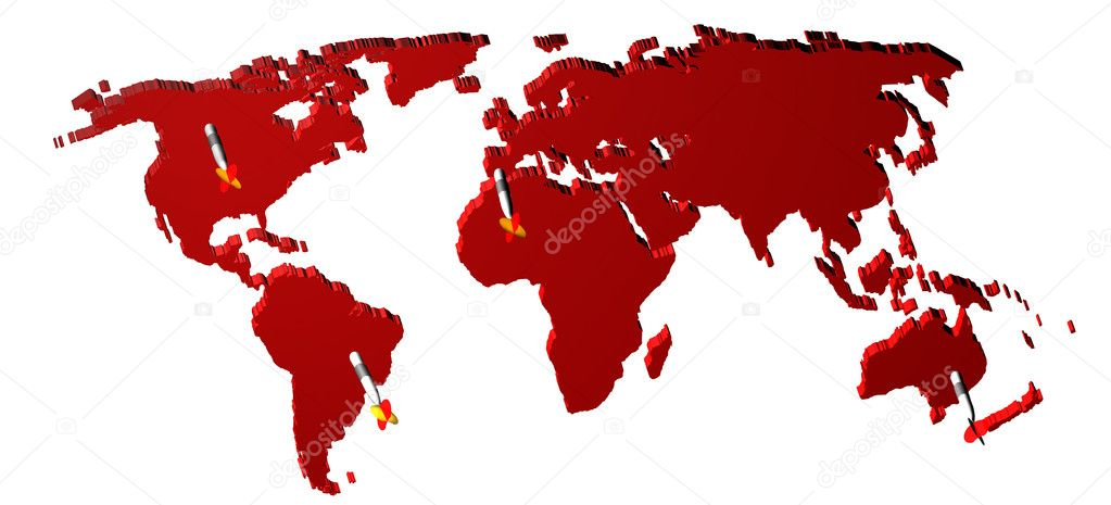 World map render 3D with darts. Concept of world market. — Stock Photo #6118673