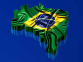 Brazil map rendered with Brazilian flag — Stock Photo