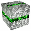 Cube with Recycle words related — Stock Photo