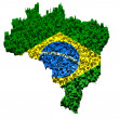 Stock Photo: Braziliflag mounted with blocks over country boundary